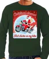Foute kersttrui motorliefhebbers hot chicks groen heren