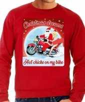 Foute kersttrui motorliefhebbers hot chicks rood heren