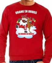 Foute kersttrui outfit drank drugs rood heren