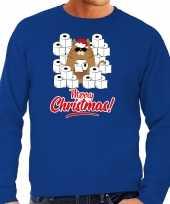 Foute kersttrui outfit hamsterende kat merry christmas blauw heren
