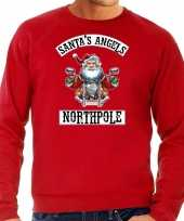 Foute kersttrui outfit santas angels northpole rood heren