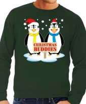 Foute kersttrui pinguin vriendjes groen heren
