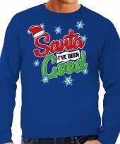 Foute kersttrui santa i have been good blauw heren