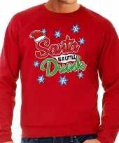 Foute kersttrui santa is a little drunk rood heren