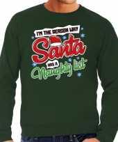Foute kersttrui why santa has a naughty list groen heren