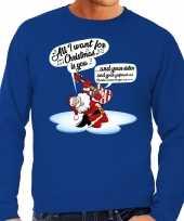 Foute kersttrui zingende kerstman gitaar blauw heren