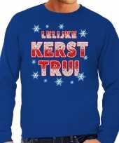 Foute lelijke kerst trui blauw heren