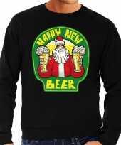 Foute nieuwjaar kersttrui happy new beer bier zwart heren