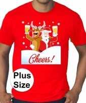 Grote maten fout kerst shirt dronken kerstman rood heren