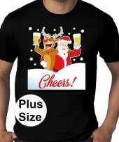 Grote maten fout kerst shirt dronken kerstman zwart heren