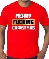 Grote maten fout kerst shirt merry fucking christmas rood heren