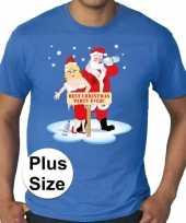 Grote maten fout kerst t shirt best christmas party blauw heren