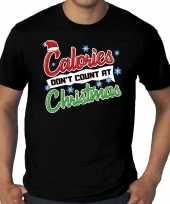 Grote maten foute kerst-shirt christmas calories zwart heren
