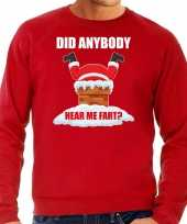 Grote maten foute kersttrui outfit did anybody hear my fart rood heren