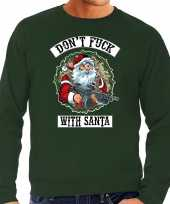 Grote maten foute kersttrui outfit dont fuck with santa groen heren
