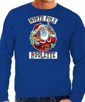 Grote maten foute kersttrui outfit northpole roulette blauw heren