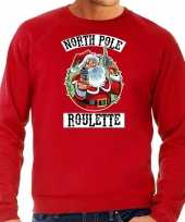 Grote maten foute kersttrui outfit northpole roulette rood heren
