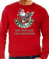Grote maten foute kersttrui outfit rambo but you can call me santa rood heren