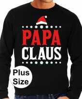 Grote maten foute kersttrui papa claus zwart heren