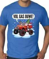 Grote maten kerst-shirt monstertruck santa blauw heren