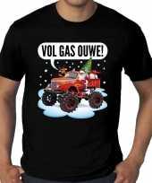 Grote maten kerst-shirt monstertruck santa zwart heren