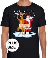 Grote maten kerst t-shirt dronken kerstman rudolf zwart