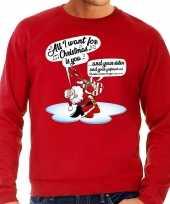 Grote maten kersttrui zingende kerstman gitaar rood heren