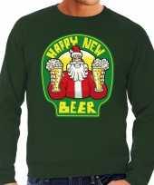 Grote maten nieuwjaar kersttrui happy new beer groen heren