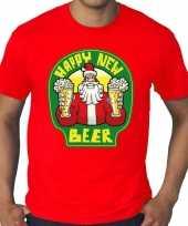Grote maten nieuwjaar shirt happy new beer bier rood heren