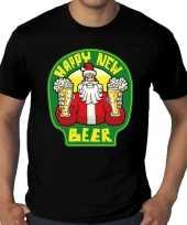 Grote maten nieuwjaar shirt happy new beer bier zwart heren