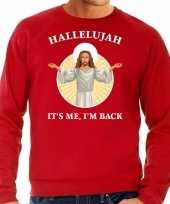 Hallelujah its me im back kersttrui outfit rood heren