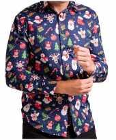 Heren kerst overhemd blouse kerstprint donkerblauw