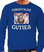 Kitten kersttrui outfit christmas cuties blauw heren