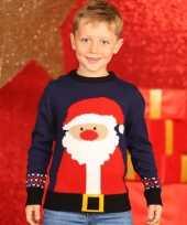 Navy kinder kersttrui kerstman
