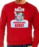 Rinkelende kerstbal sweater kersttrui mijn ballen rinkelen rood heren