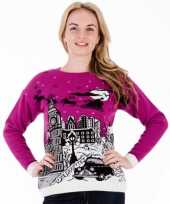Roze kersttrui london dames